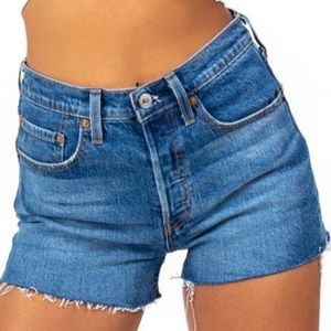 Levi's 501's High Rise Button Fly Denim Shorts